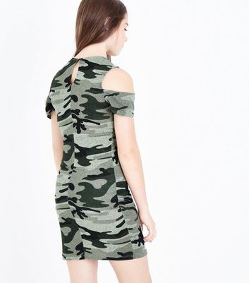 Teens Green Camo Print Cold Shoulder Dress New Look