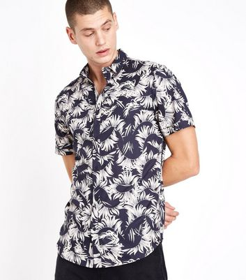 Black Feather Print Short Sleeve Shirt New Look