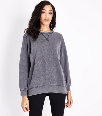 Dark Grey Burnout Balloon Sleeve Sweatshirt New Look