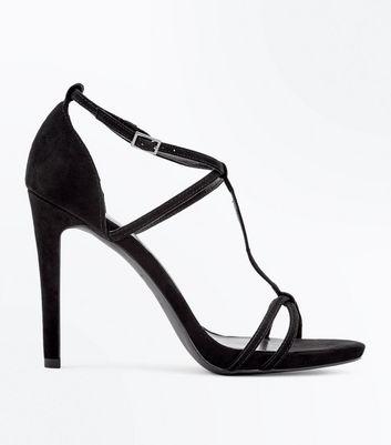 Black Suedette T-Bar Strappy Stiletto Heel Sandals New Look
