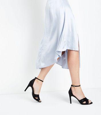 Black Satin Fray Cross Strap Stiletto Sandals New Look