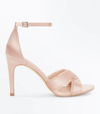 Pink Satin Fray Cross Strap Stiletto Sandals