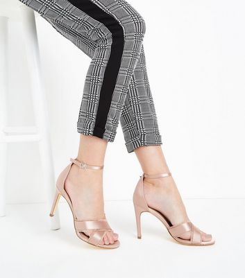 Pink Satin Fray Cross Strap Stiletto Sandals New Look