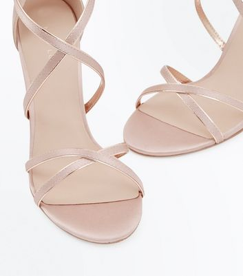 Pink Satin Metallic Piped Strappy Sandals New Look