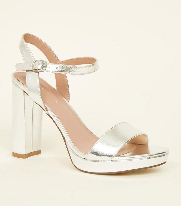 d4506add55e Silver Metallic Block Heel Platform Sandals