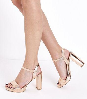 Rose Gold Metallic Block Heel Platform Sandals New Look