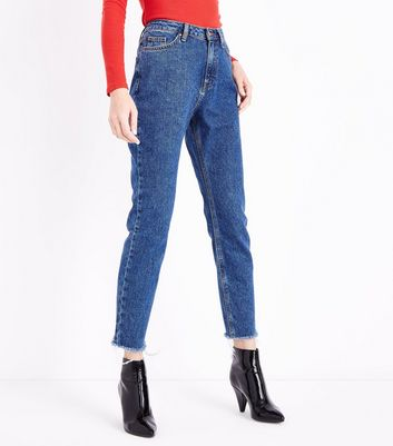 Blue Fray Hem Tori Mom Jeans New Look