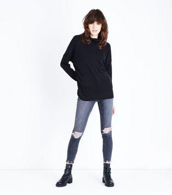 Black Rinse Ripped High Waist Skinny Hallie Jeans New Look