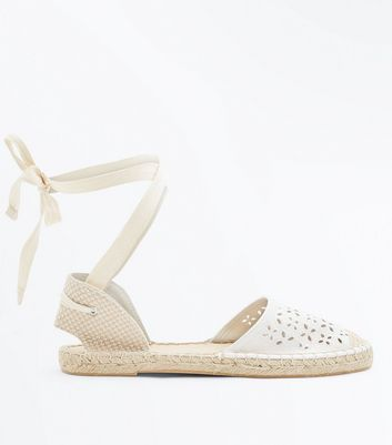 Off White Cut Out Ankle Tie Espadrilles