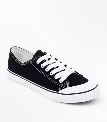 Black Canvas Stripe Sole Trainers New Look