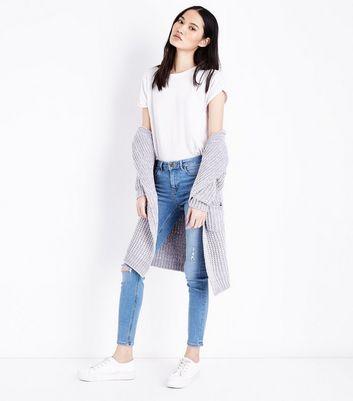 Blue Distressed Skinny Jenna Jeans New Look