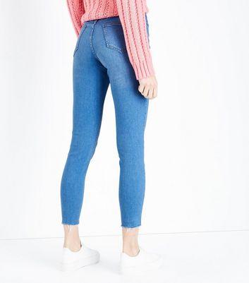 Bright Blue High Waist Raw Hem Skinny Dahlia Jeans New Look