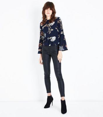 Parisian Navy Floral Flare Sleeve Peplum Top New Look
