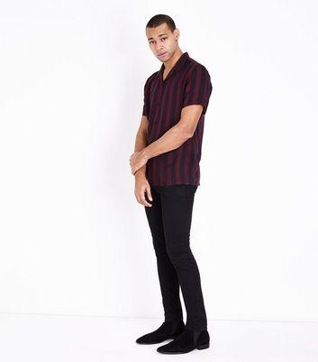 Burgundy Stripe Revere Shirt New Look