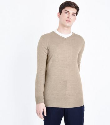 Stone Ribbed V Neck Jumper New Look