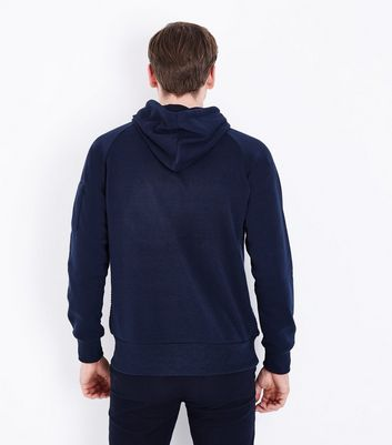 Navy Knitted Front Hoodie New Look