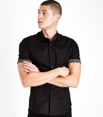 Black Ditsy Floral Rolled Sleeve Shirt New Look