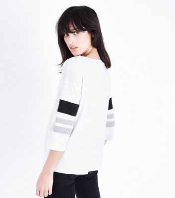 White Slouchy Stripe Sleeve T-Shirt New Look
