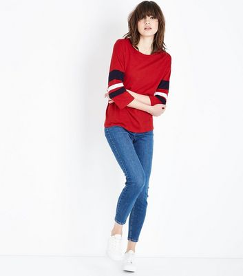 Red Slouchy Stripe Sleeve T-Shirt New Look