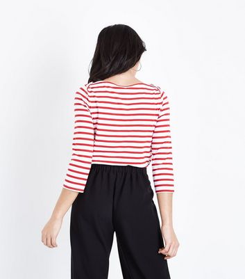 Red Stripe Organic Cotton Mix 3/4 Sleeve T-Shirt New Look