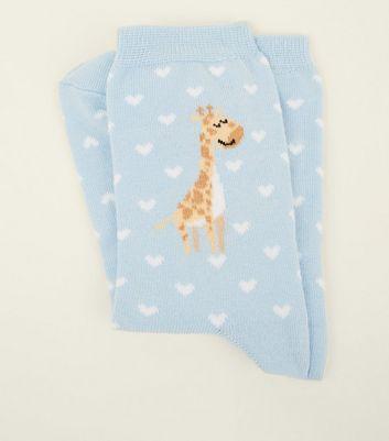 1 Pack Pale Blue Giraffe and Heart Socks New Look