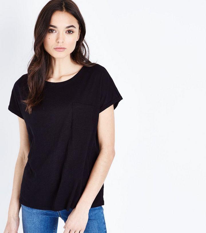 7a80e0924460c3 Black Organic Cotton Pocket Front T-Shirt