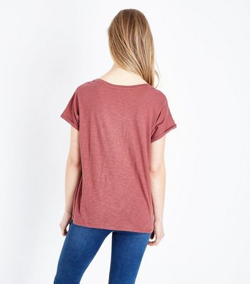 Rust Organic Cotton Pocket Front T-Shirt New Look