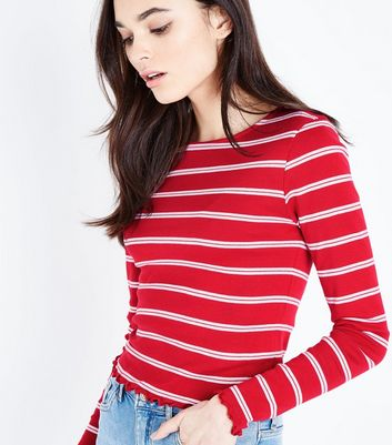 Red Stripe Crew Neck Long Sleeve T-Shirt New Look