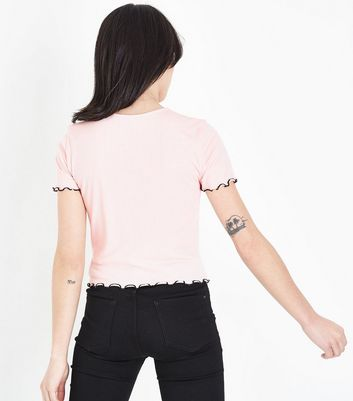 Pink Ribbed Contrast Frill Edge T-Shirt New Look