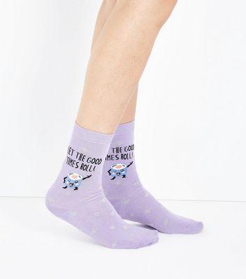Lilac Good Times Slogan Socks New Look