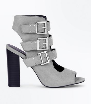 Wide Fit Grey Suedette Stud Buckle Strap Block Heels New Look