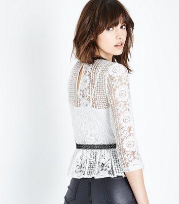 White Lace Contrast Panel Peplum Hem Top New Look
