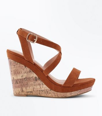 Tan Suedette Strappy Cork Wedges