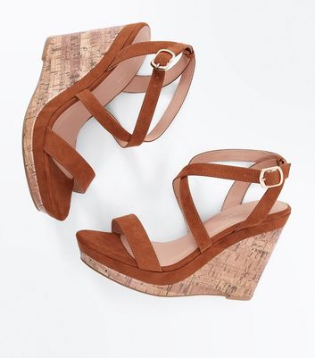 Tan Suedette Strappy Cork Wedges New Look