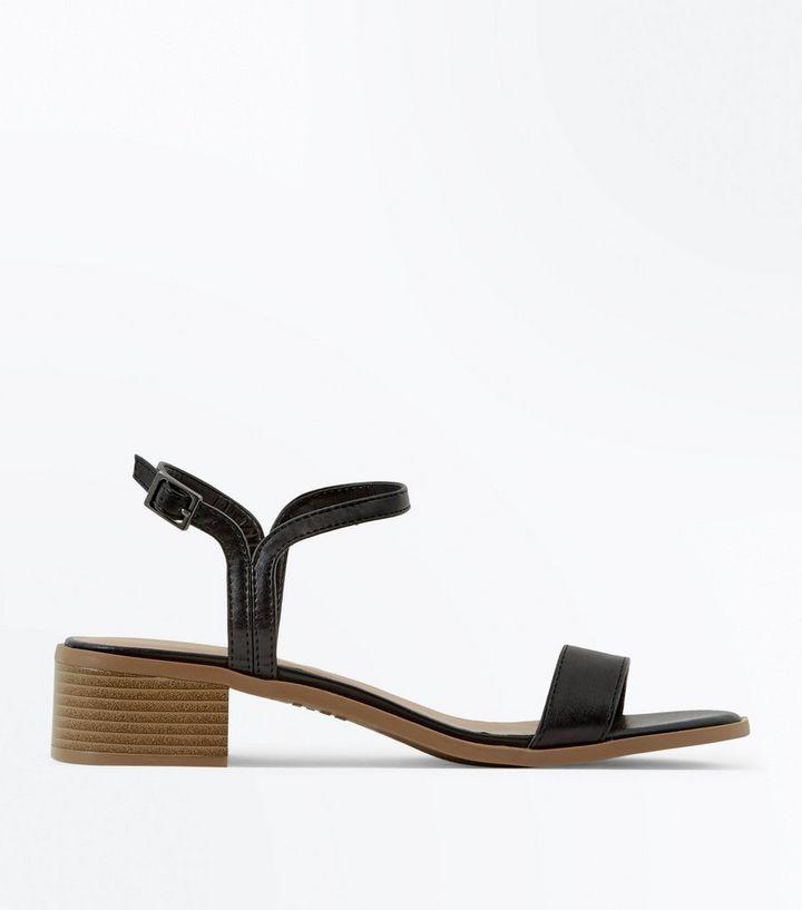 Black Low Block Heel Sandals  749d3b07f8