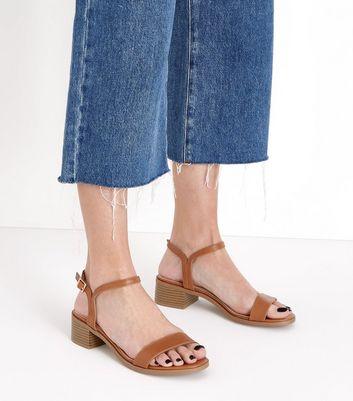 Tan Low Block Heel Sandals New Look