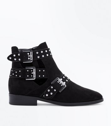 Wide Fit Black Suedette Cut Out Strap Side Ankle Boots New Look