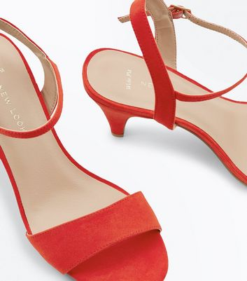 Wide Fit Red Cone Heel Ankle Strap Sandals New Look