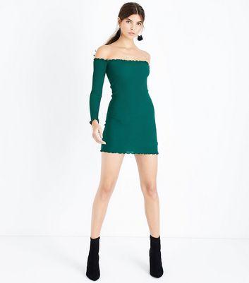 Cameo Rose Green Frill Trim Bardot Neck Dress New Look