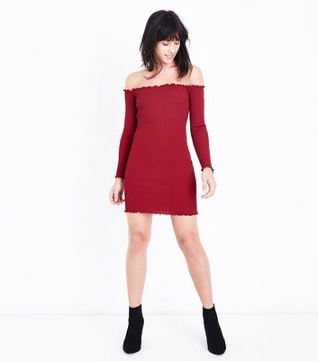 Cameo Rose Burgundy Frill Trim Bardot Neck Dress New Look
