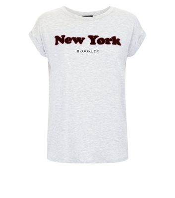 Grey New York Faux Fur Slogan T-Shirt New Look