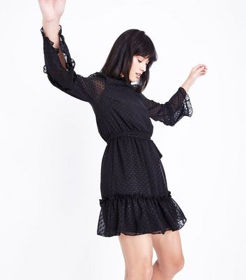 Parisian Black Spot Mesh Frill Trim Dress New Look