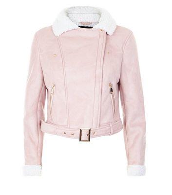 Parisian Shell Pink Faux Borg Collar Aviator Jacket New Look