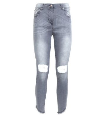 Parisian Grey Ripped Knee Skinny Jeans New Look