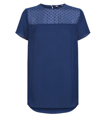 Blue Metallic Spot Mesh Yoke Top New Look