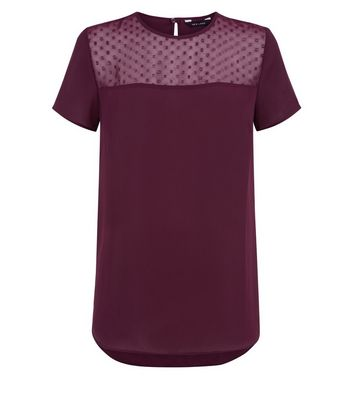 Burgundy Metallic Spot Mesh Yoke Top New Look