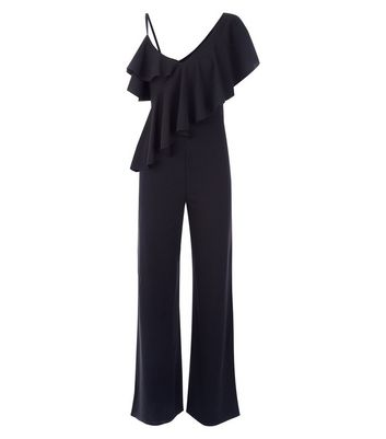Cameo Rose Black Asymmetric Frill Trim Jumpsuit New Look