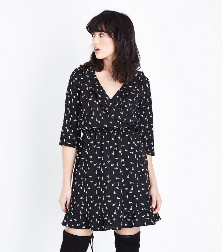 c0ccc2a55d8 Black Floral Wrap Front Tea Dress