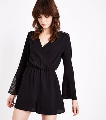 Black Crepe Lace Trim Wrap Front Playsuit New Look
