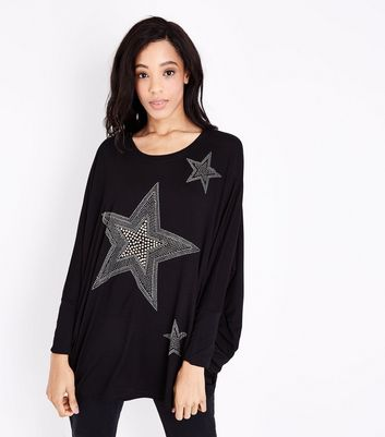 QED Black Star Embellished Longline Top New Look